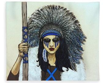 Blanket ~ Native Warrior Goddess Sherpa Fleece Blanket
