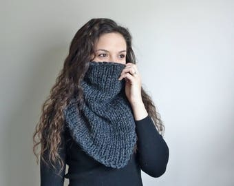Fitted Knit Cowl • Fitted Infinity Scarf • Chunky Knit Infinity Scarf • Chunky Knit Cowl • The Stonehenge • In Color Charcoal