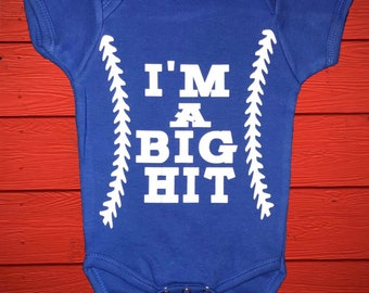 I'm A Big Hit/Baby Boy Onesie/Baseball/Baby Shower Gift/Coming Home Outfit/Baseball Onsie/It's A Boy