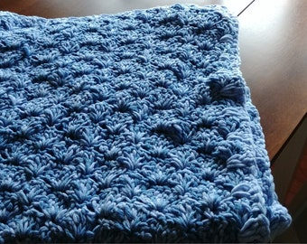 Blue Multi Baby Blanket with Blue Trim