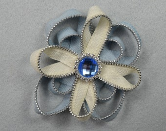 Blue Brooch, Barrette, Clip, or Headband, Zipper Pin, Zipper Art, Flower Pin, Flower Headband, Flower Clip, Upcycled, Recycled, Repurposed