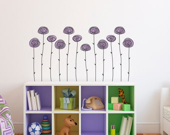 Hand Drawn Roses Wall Decal - Large Flower Wall Art - (Set of 12)