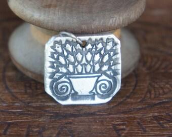 Handmade Fine Silver Antiquity Flower Urn Pendant