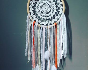 Bohemian Dreamcatcher white, pink blush, coral, gold and beige