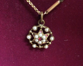 Victorian pearl garnet small pendant in rolled rose gold***