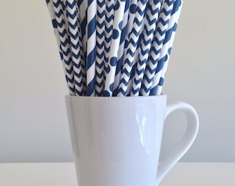 Navy Paper Straws Navy Blue Striped, Chevron, Polka Dot Party Supplies Party Decor Bar Cart Cake Pop Sticks  Party Graduation