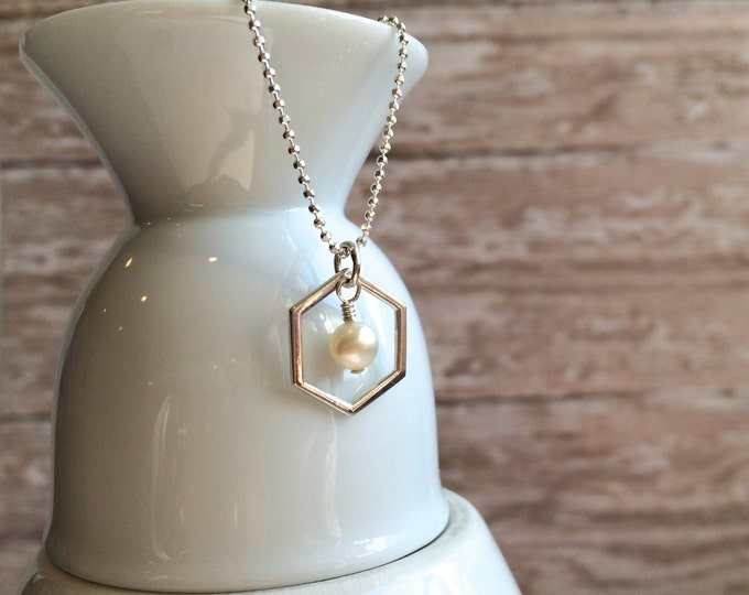 Silver Honeycomb Charm Necklace with Pearl--Silver Hexagon