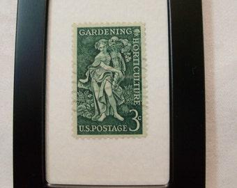 Gardening Stamp, Vintage Stamp,  Framed Postage Stamp, Gardening, Christmas Gift, Garden Goddess, Gift for her,