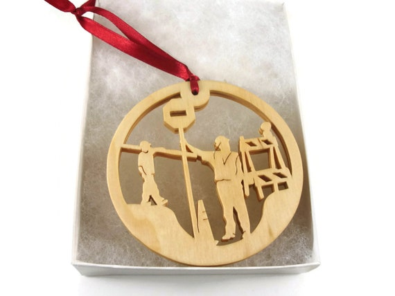 Road Construction Crew Christmas Ornament With Barricade, Cones, And Stop Sign Handmade From Birch Wood By KevsKrafts