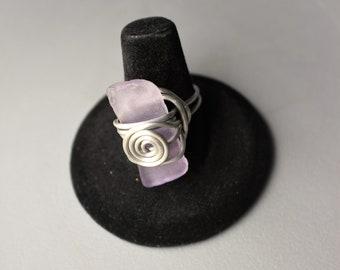 Lavendar Purple Pastel Sea Glass Bold Siver Aluminum Wire Wrapped Scroll Design Size 7