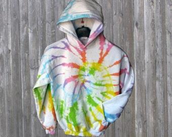 Pastel Rainbow Tie-dye Fleece Hoodie