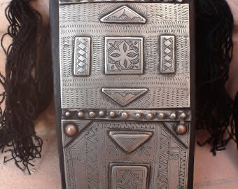 Large Tuareg Amulet Tscherot Metal/Copper on Leather with Cotton Cord