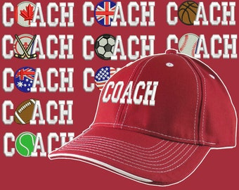 Custom Personalized Coach Embroidery on Adjustable Structured Red and White Baseball Cap Front Decor Selection + Options for Side and Back