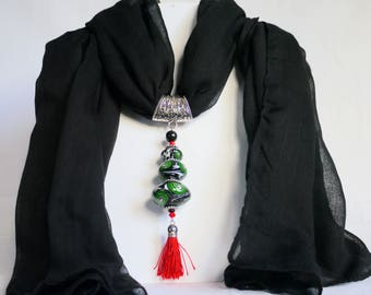 Jewelry scarf and black scarf