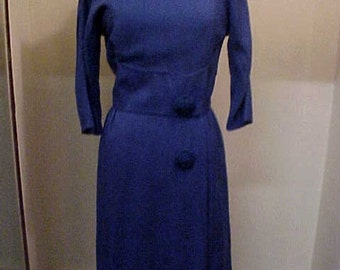 Vintage 1950's BERGDORF GOODMAN Fully Lined Dress-Size M-