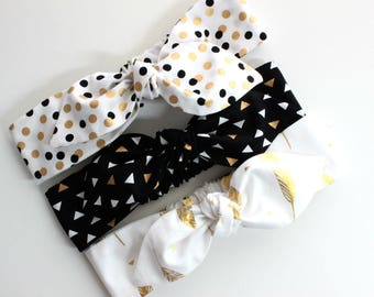 Bulk pack! Baby Girl Headband Set, Baby Girl Headbands, Metallic Baby Headband Set, Wedding, Bridal shower, Black White & Gold Headband Set