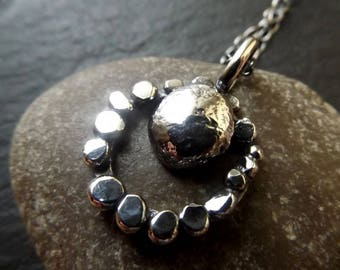 Silver hammered pebble circle necklace , oxidized rustic circle necklace