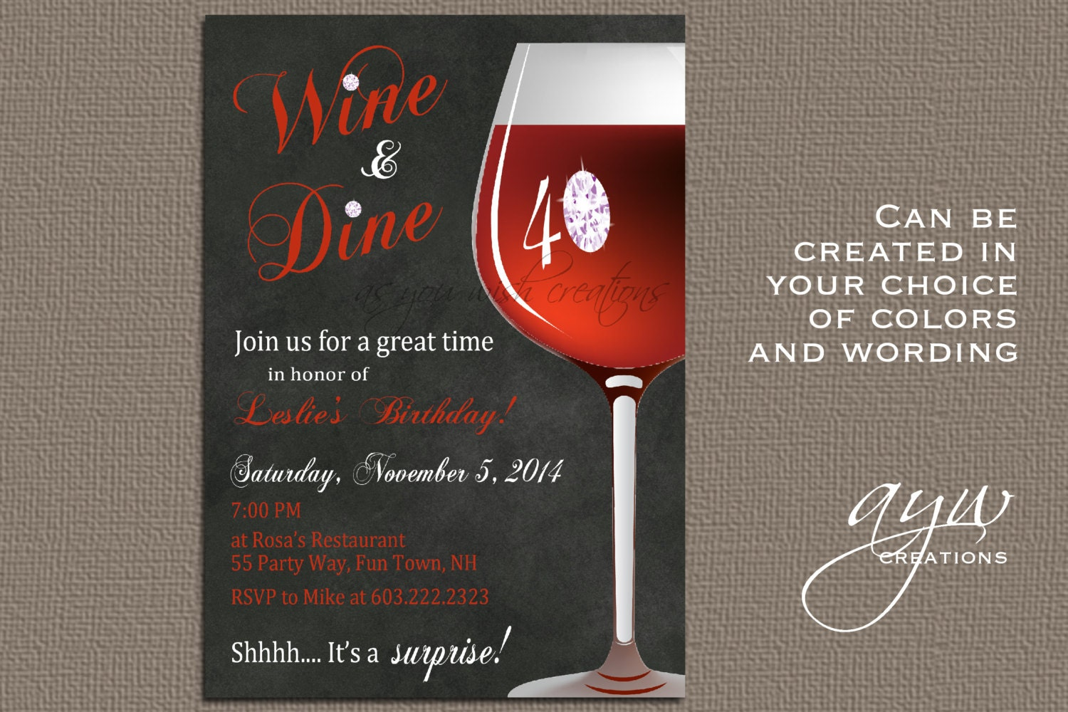 Wine Birthday Party Invitation Printable Invitation Elegant