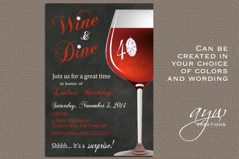 Wine Birthday Party Invitation Printable Invitation Elegant