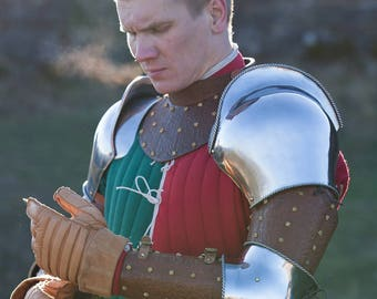 """Steel Arms with Leather Bracers """"Bird of Prey""""; Medieval Armor; Steel Armor; Steel Arms; Metal arms; Leather Arms"""