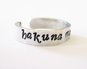 Hakuna matata ring, personalized ring, adjustable ring, gifts for best friends, aluminium ring, hand stamped jewelry, handstamped ring