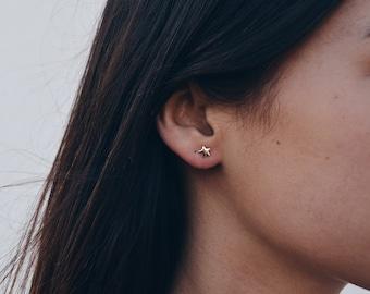 Star earring - Little earring - Silver star - Gold star - Creu Handmade