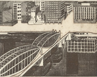 SMITHFIELD STREET BRIDGE original hand printed zinc plate etching