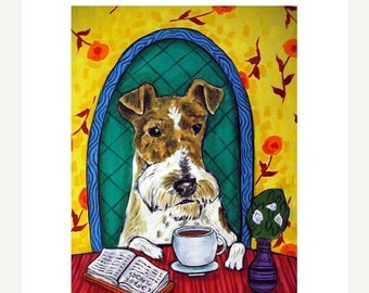 Fox Terrier at the Coffee Shop Cafe Dog Art Print