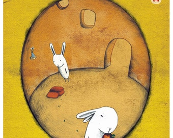 The Carrot Thief. Signed Archival Giclee Print. A4/A5 available.