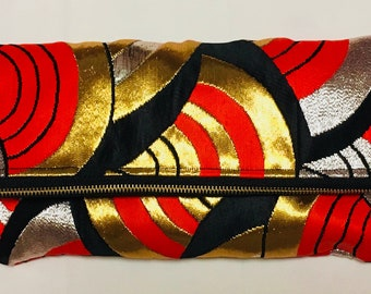 Black, Gold and Red Vintage Obi Silk Fold-over Clutch Purse