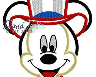 Uncle Sam Mickey - 4x4, 5x7 and 6x10 in 9 formats - Applique - Instant Download - David Taylor Digitizing