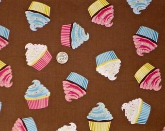 Riley Blake - 2016 Designer Novelty - C6060 Brown - Cupcakes on Brown Toss - 1 Yard of Fabric