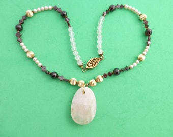 Pendant necklace Pink quartz garnet cultured pearls amethyst sterling vermeil clasp AI60
