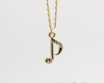 Music Note Necklace, Gold Music Note Charm Necklace, Gold 8 Note Necklace, Musical Note Charm Necklace, Musician Gift, Music Teacher Gift
