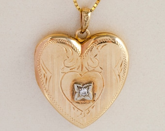 Vintage Pendant - Vintage Yellow Gold Engraved Heart Diamond Locket
