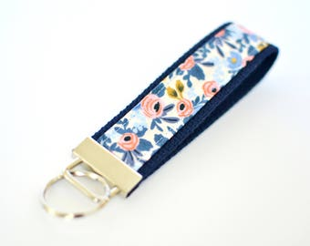 Key Fob Floral, Rifle Paper Co Fabric Key Chain, Blue Key Holder, Wristlet Key Chain for Women, Wrist Lanyard Navy Key Holder Gift Under 10