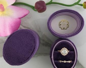 Velvet Ring Box Oval DOUBLE  Hand Made Keepsake Velvet Ring Box Engagement Ring Wedding Ring Antique
