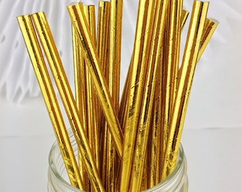 Gold Foil Paper Straws  // Birthday Party, Wedding, Baby or Bridal Shower  // Bar Cart Accessory or Cake Pop Sticks