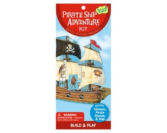 Pirate theme stickers / pirate ship to assemble and decorate with stickers / kids birthday