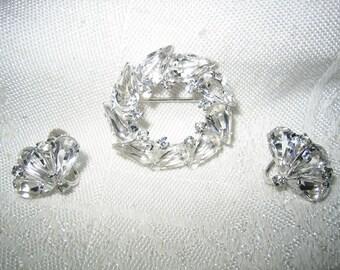 Vintage Sterling Elegant Crystal Stone Brooch & Earrings