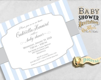 Classic Stripes Baby Boy Shower Invitation - Printable - Simple Baby Shower Invite for a Boy in Blue & Grey - 5x7 Digital JPEG or PDF