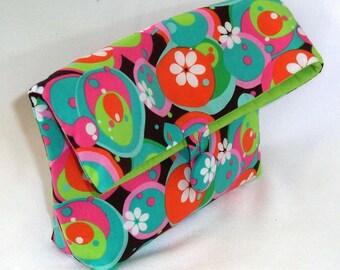 Cosmetic Bag, Clutch Purse, Makeup Bag, Purse Organizer, Fabric Bag, Toiletry Bag, Green, Blue, Circles, Polkadots