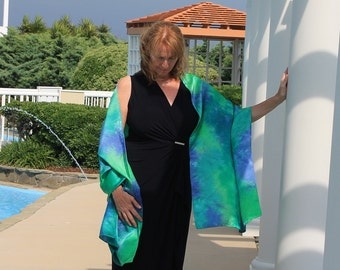 Fantasy ... hand painted silk wrap, shawl