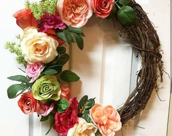 Spring Wreath Front Door, 18 or 24 Inches, Spring Wreath, Spring Grapevine Wreath, Summer Wreath, Outdoor Spring Wreath, Country Home decor
