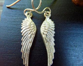 Sterling Silver Angel Wing Earrings, Angel Wings, Feather Earrings, Guardian Angel, Angel Jewelry, Silver Wings, Romantic Jewelry, Wings