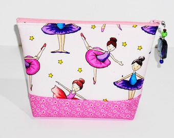 Cosmetic Bag plastic lined with decorative beaded zipper pull
