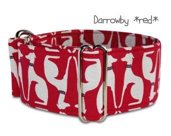 "2"" martingale, red dog collar, buckle dog collar, *Darrowby*, custom, wide, sighthound silhouette collar, greyhound, galgo, whippet collar"