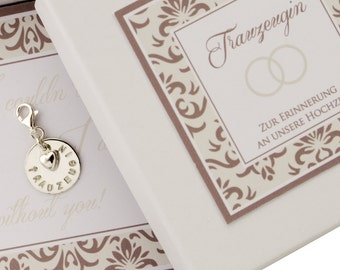 CHARMS, WEDDING maid of HONOR engraving, 925 Silver