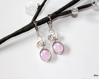 Silver plated rings dangle pink Crystal clip earrings