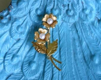 Sale Dainty Wells Flower Brooch 14K Gold Filled Faux Pearls